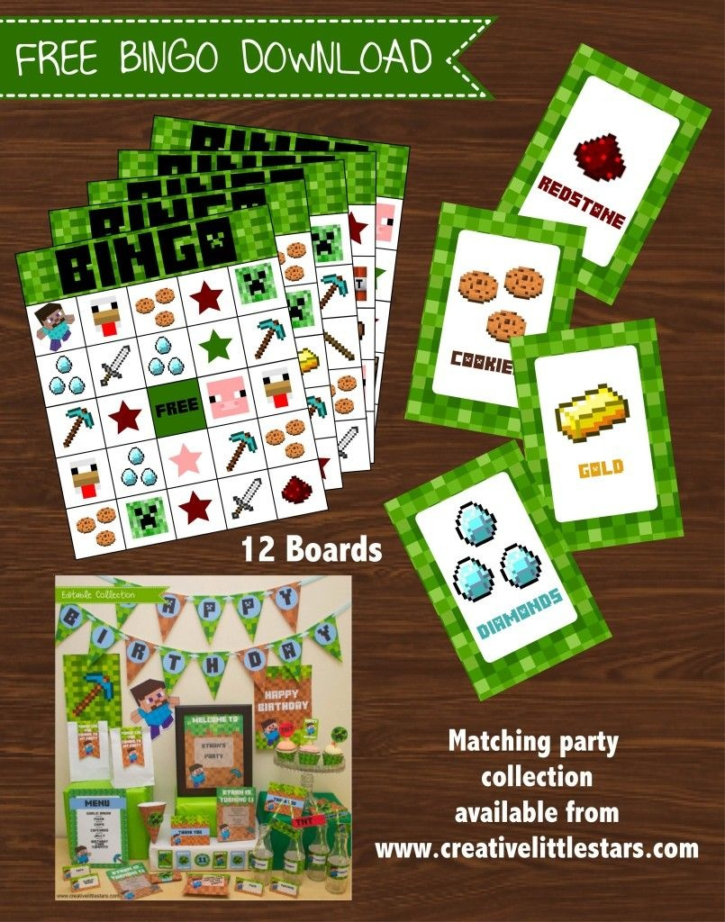 Free Printable Minecraft Bingo Game | It's My Party! | Minecraft - Free Printable Minecraft Bingo Cards