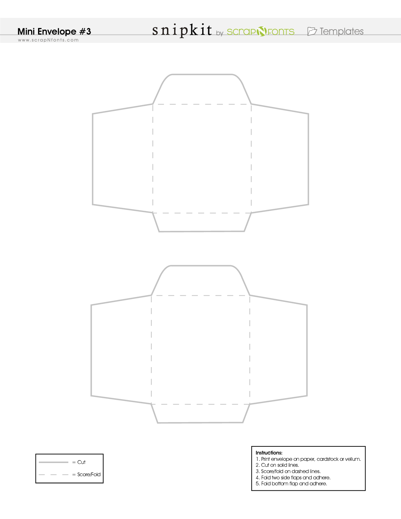 Free Printable Mini Envelope Template - Pdf | Scrapbooking - Mini - Free Printable Greeting Card Envelope Template