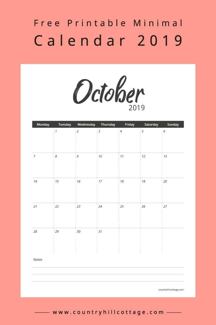 Free Printable Minimal Calendar 2019 | Calendar | Minimal Calendar - Free October Printables