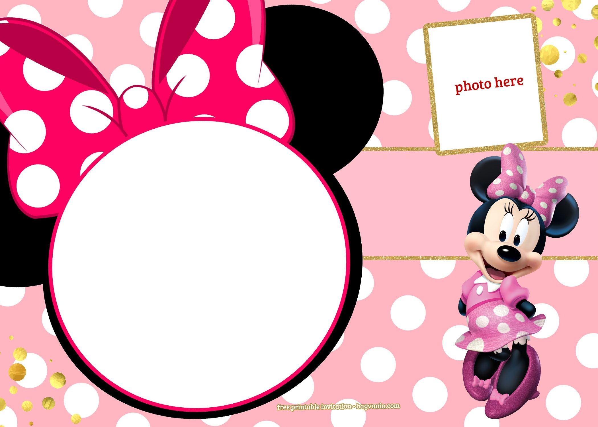 Free Printable Minnie Mouse Pinky Birthday Invitation Template - Free Minnie Mouse Printable Templates