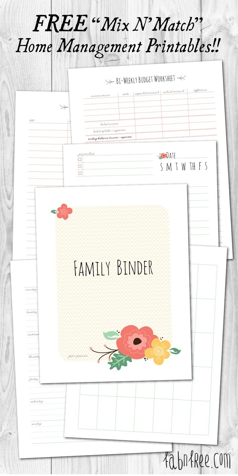 Free Printable Mix & Match Home Management Binder | // Free - Free Home Management Binder Printables 2017
