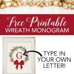 Free Printable Monogram Maker Christmas Weath   Diybunker   Create Your Own Free Printable Christmas Cards