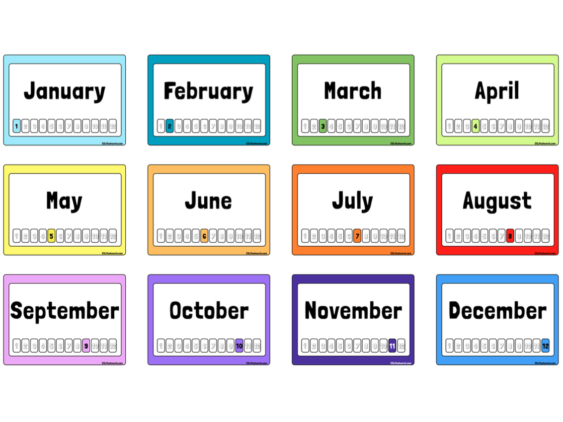 Free Printable Months Of The Year Flashcards - Free Printable Months Of The Year