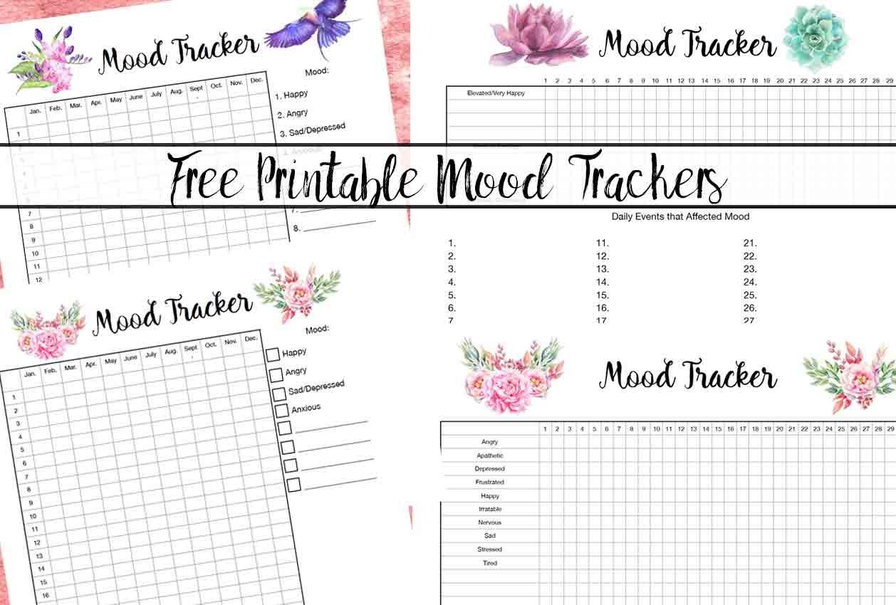 Free Printable Mood Tracker- 4 Mood Tracker Charts - Free Mood Tracker Printable