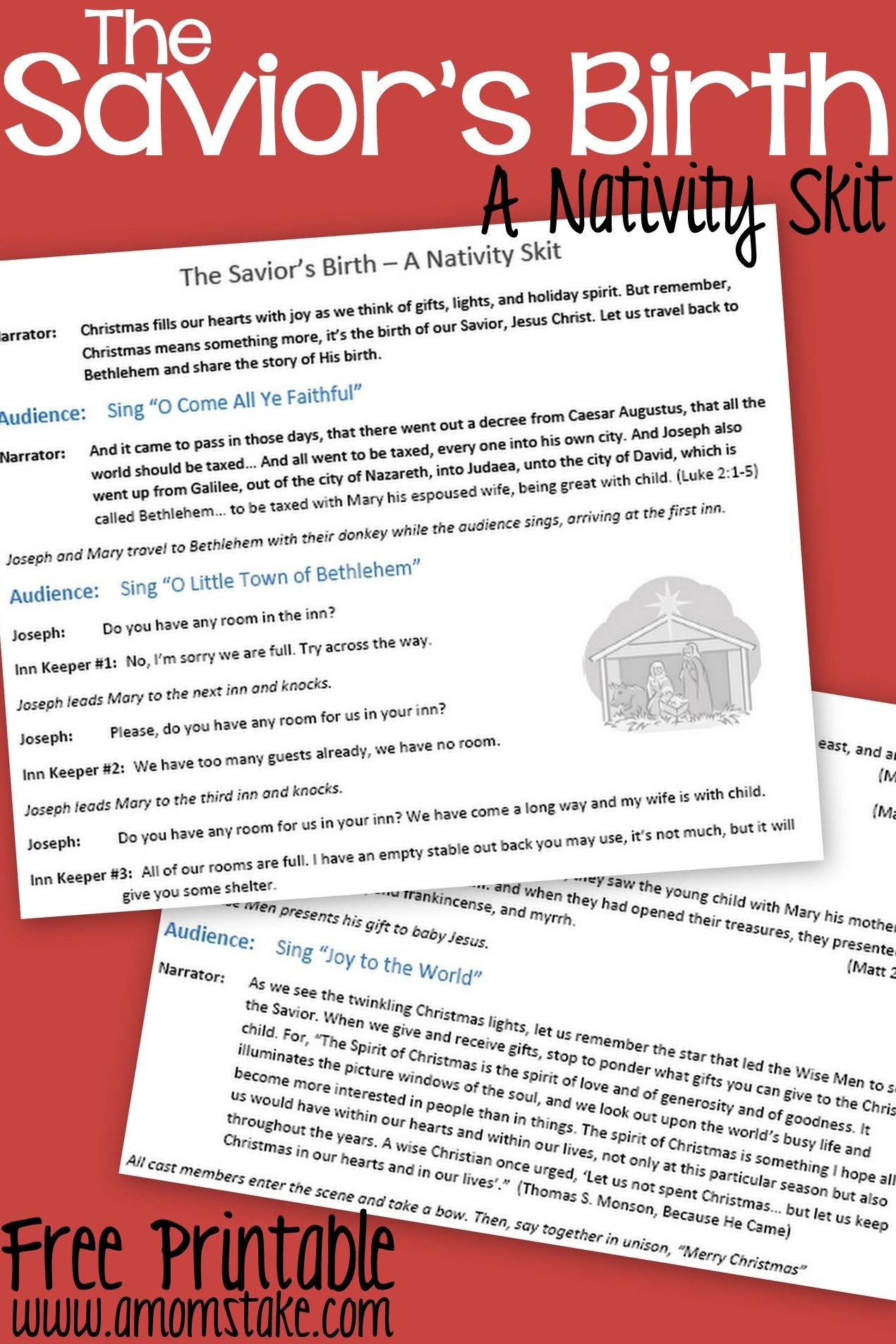 Free Printable Nativity Skit To Act Out The Birth Of The Savior - Free Printable Christmas Programs