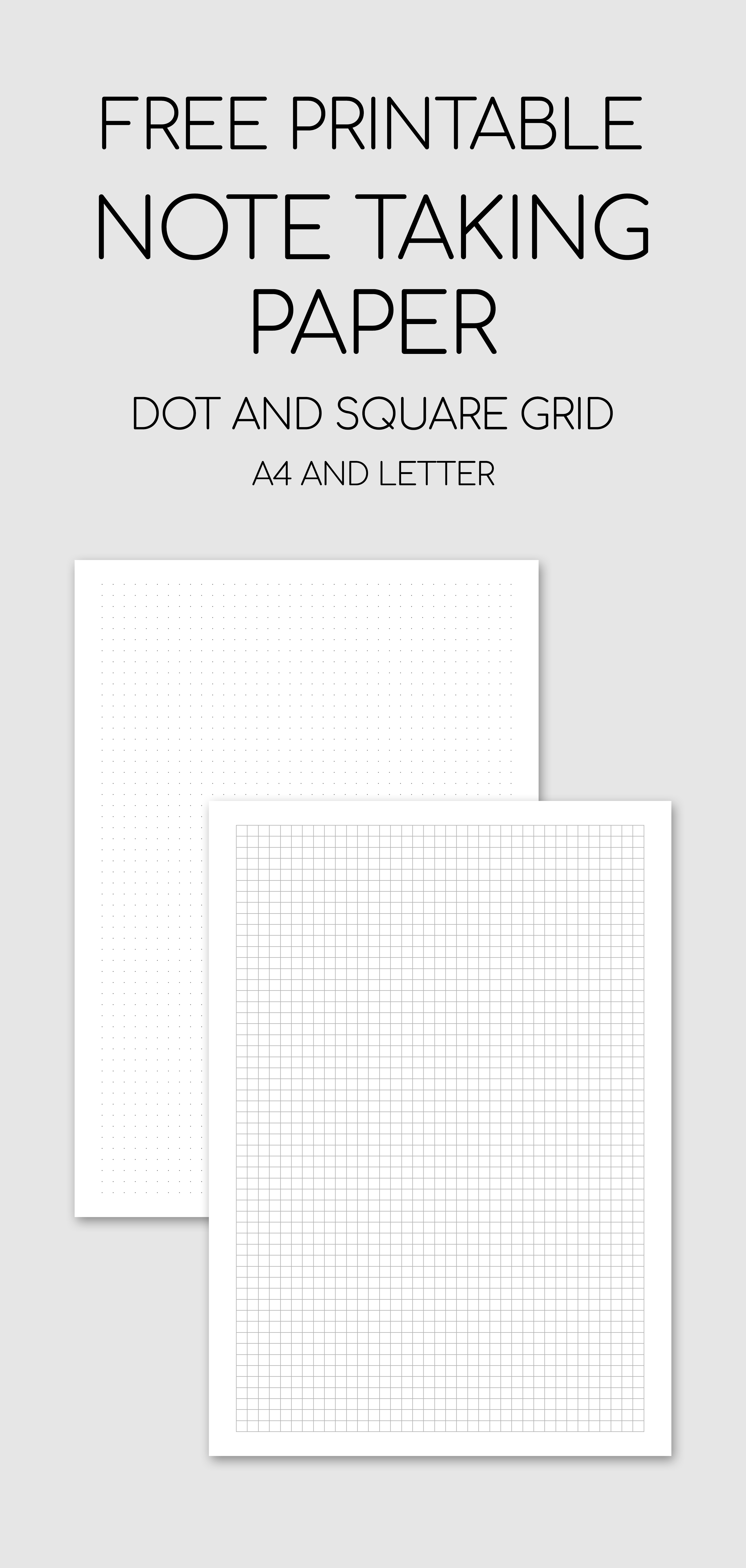 Free Printable Note Taking Paper - Dot And Square Grid #free - Free Printable Square Dot Paper
