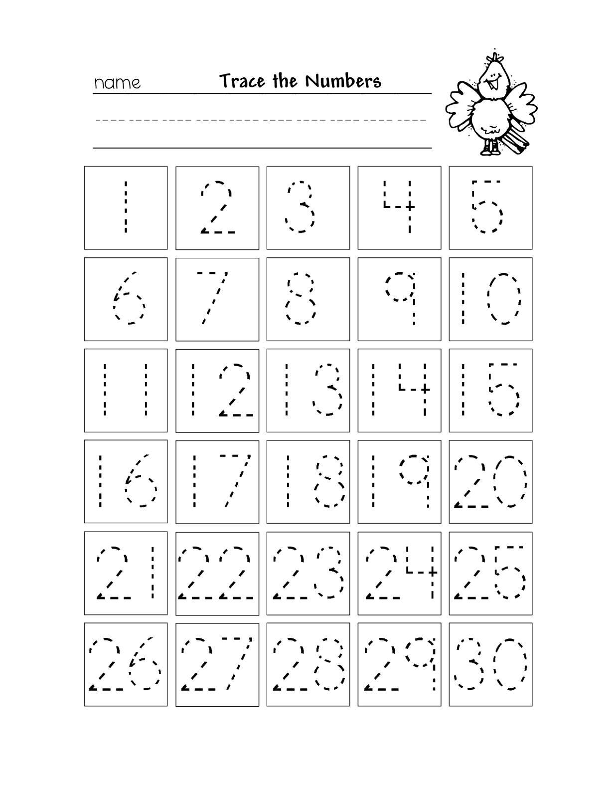 Free Printable Number Chart 1-30   Kinder   Number Tracing - Free Printable Numbers 1 20 Worksheets
