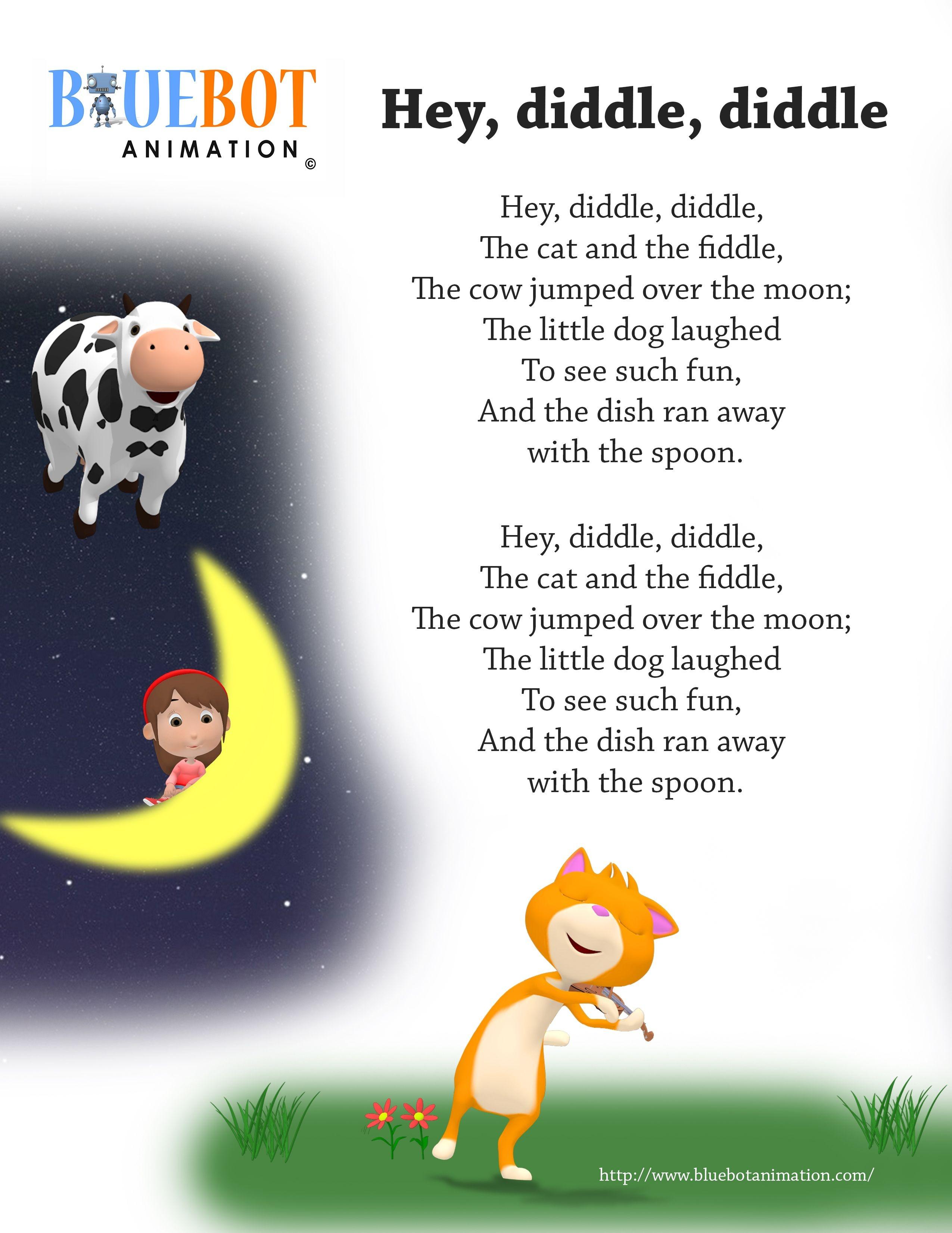 Free Printable Nursery Rhyme Lyrics Page. , Hey Diddle Diddle, Hey - Free Printable Nursery Rhymes Songs