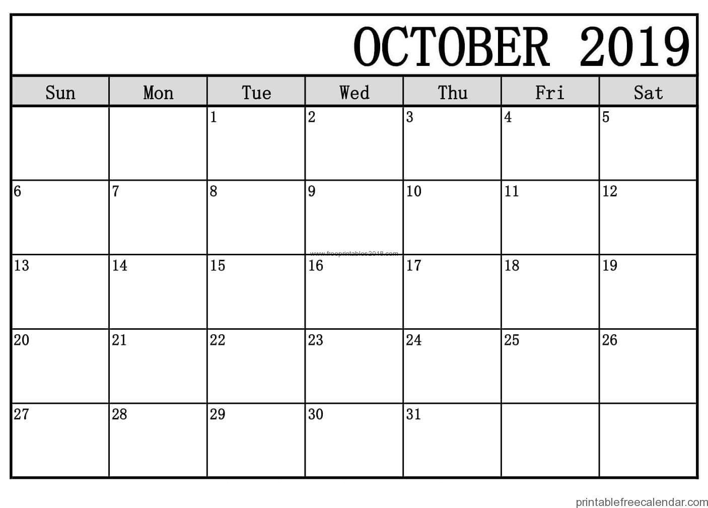 Free Printable October 2019 Calendar Templates | Free Printables 2019 - Free October Printables