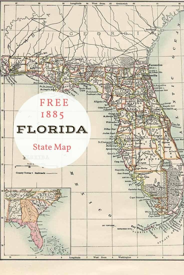 Free Printable Old Map Of Florida From 1885. #map #usa | Maps And - Free Printable Maps