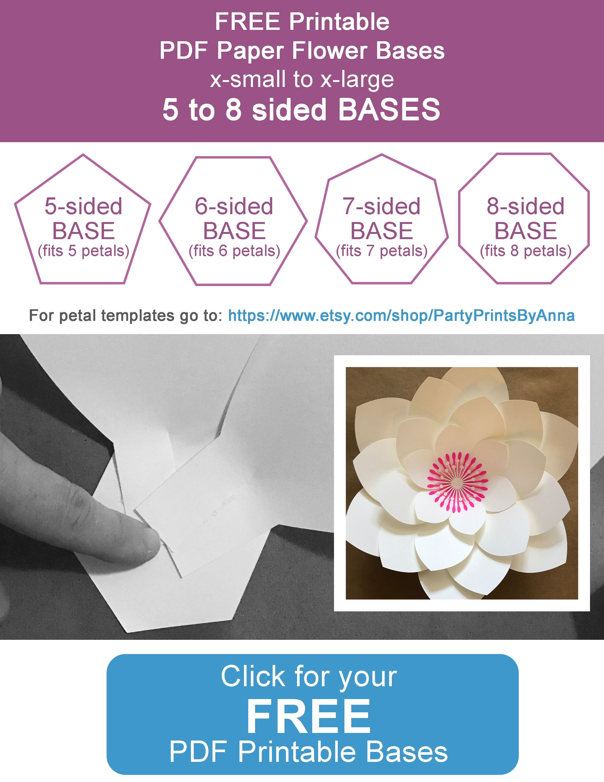 Free Printable Paper Flower Bases (5-8 Sided)   Flower Temple   Free - Free Printable Templates For Large Paper Flowers
