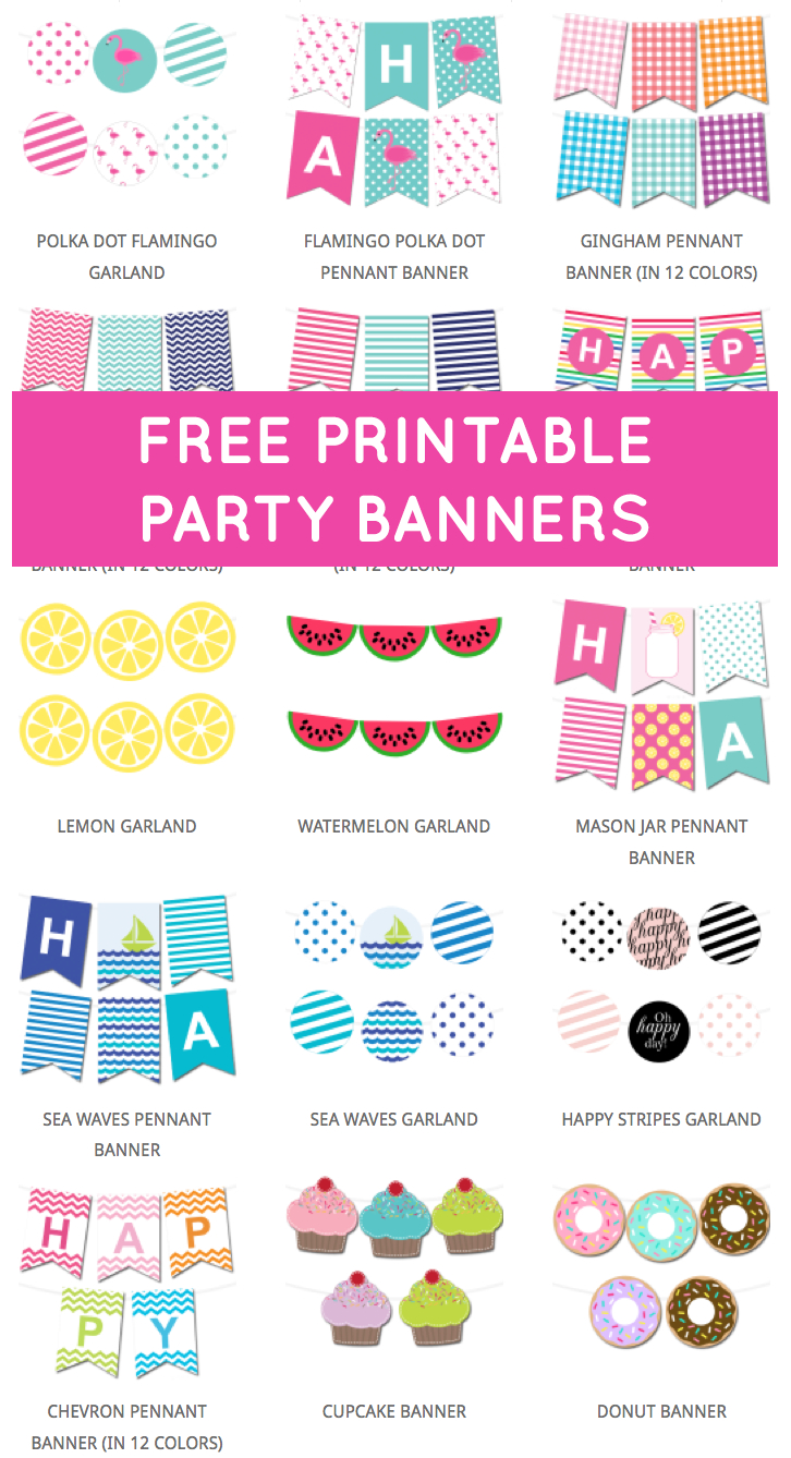 Free Printable Party Banners From @chicfetti | Banners | Party - Diy Birthday Banner Free Printable
