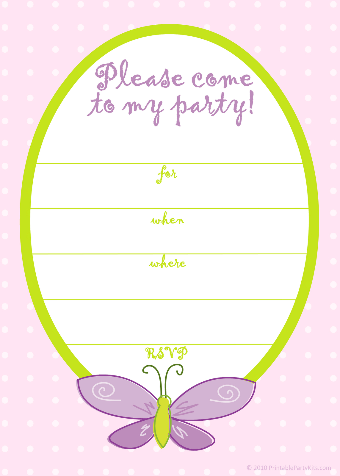 Free Printable Party Invitations: Free Pink Butterfly Girls Birthday - Free Printable Girl Birthday Party Invitations