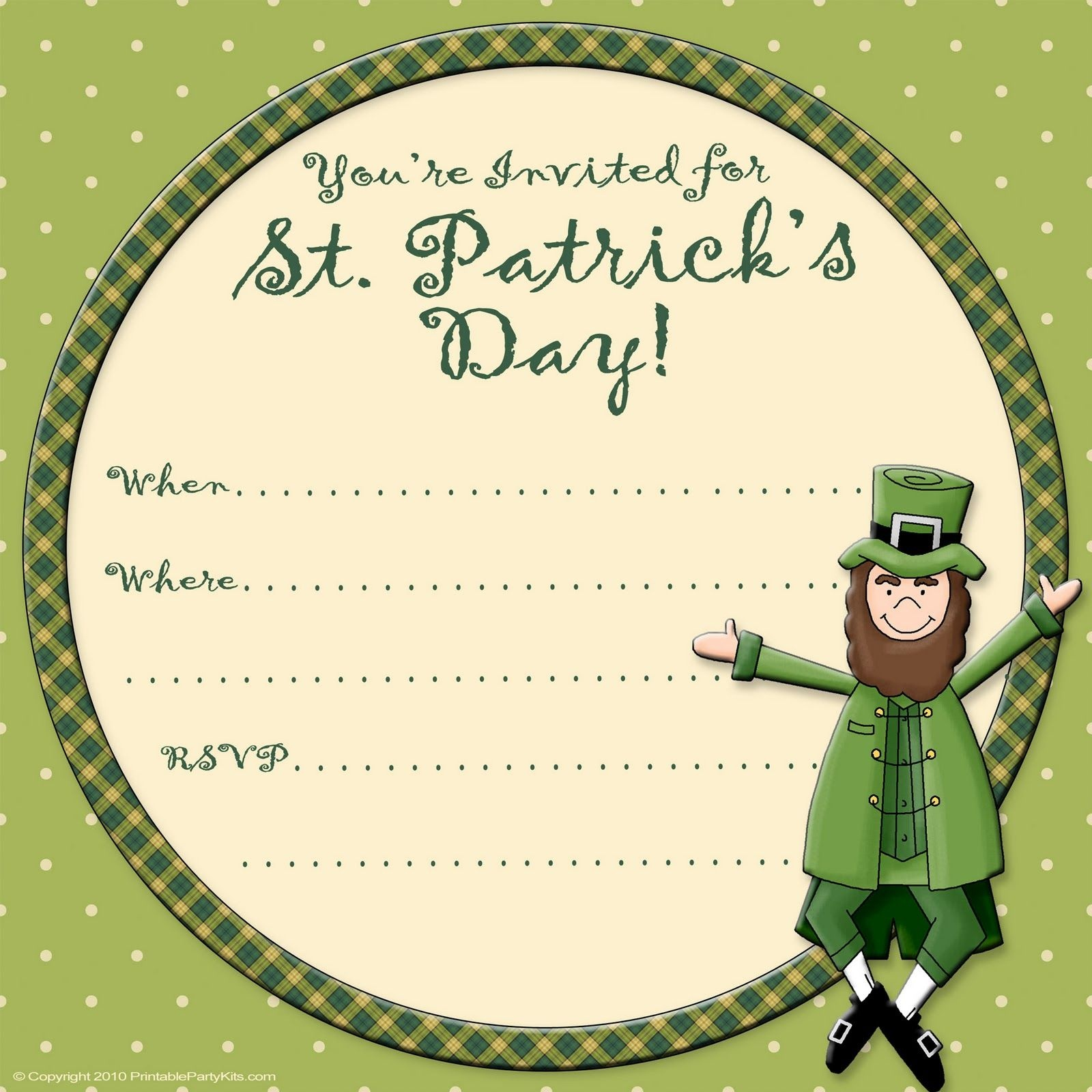 Free Printable Party Invitations: Free St. Patrick's Day Invite - Free Printable St Patrick's Day Card