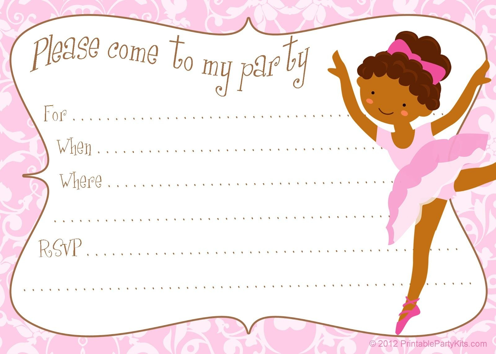 Free Printable Party Invitations: Printable Free Ballerina Party - Free Printable Ballerina Birthday Invitations