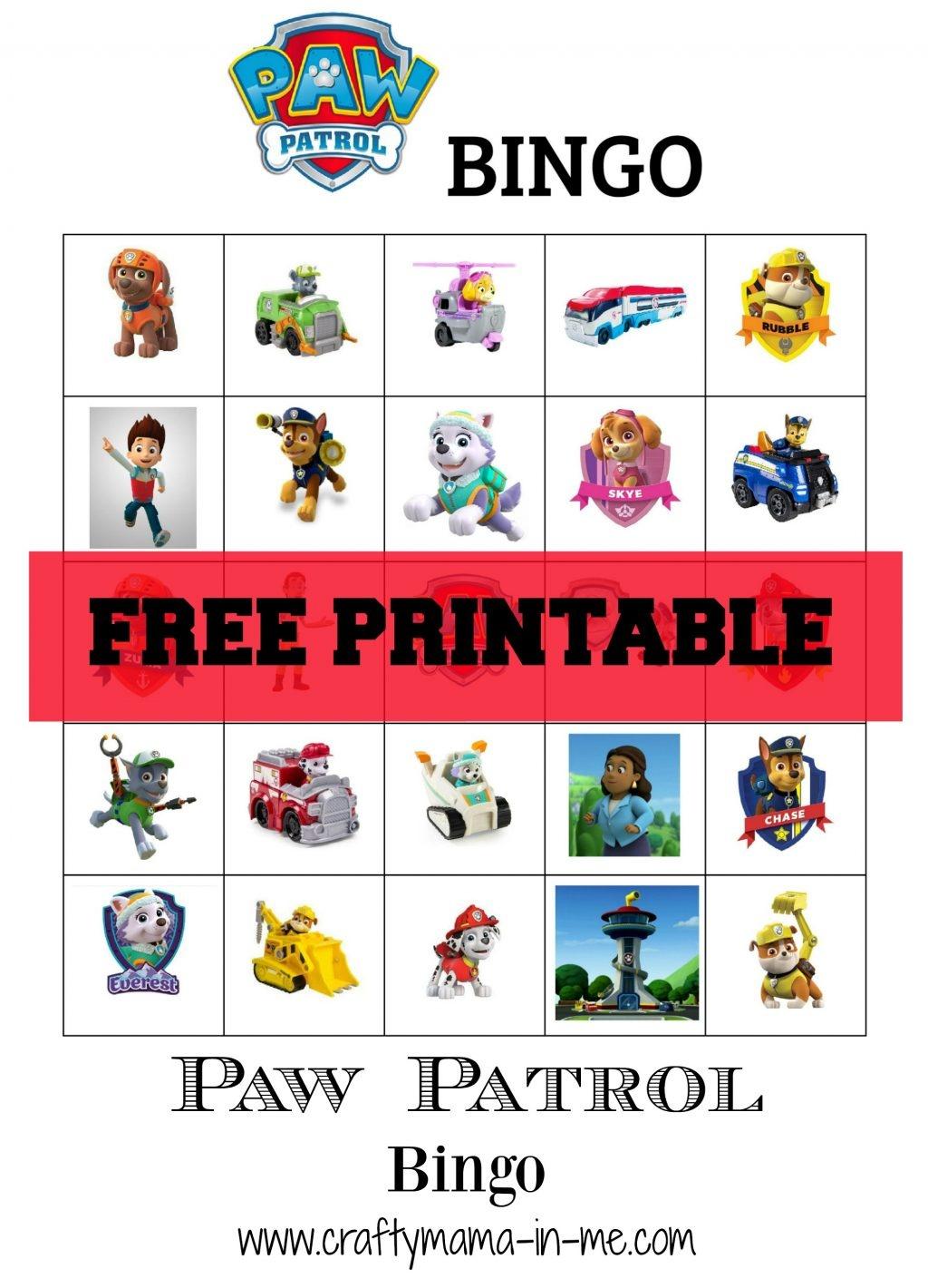 Free Printable Paw Patrol Bingo - Crafty Mama In Me! - Free Paw Patrol Printables