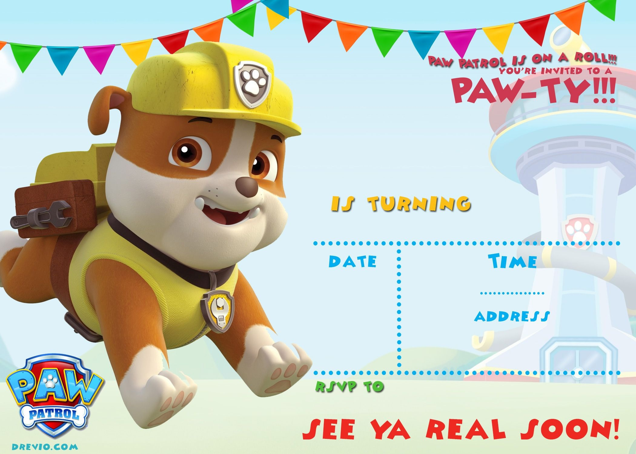 Free Printable Paw Patrol Invitation Template - All Characters - Paw Patrol Free Printables Invitations
