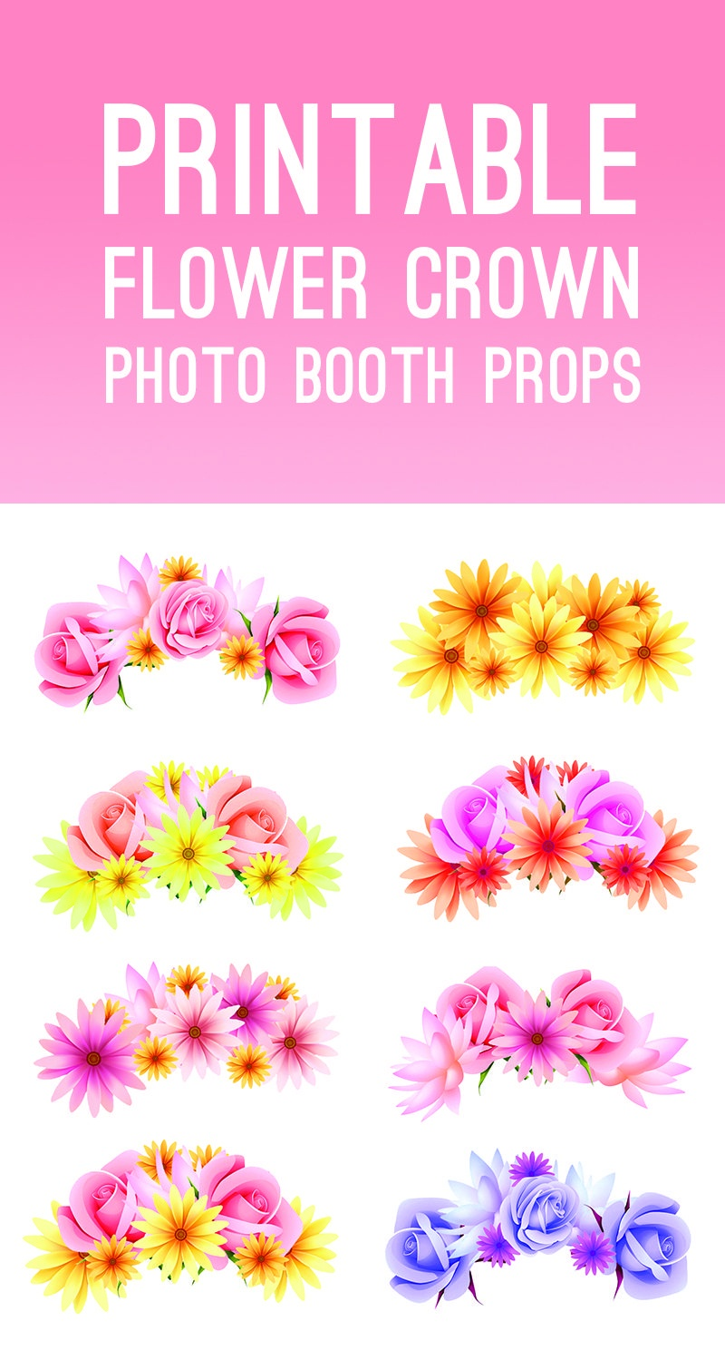 Free Printable Photo Booth Flower Crown Props For Your Wedding - Free Printable Photo Booth Props Bridal Shower
