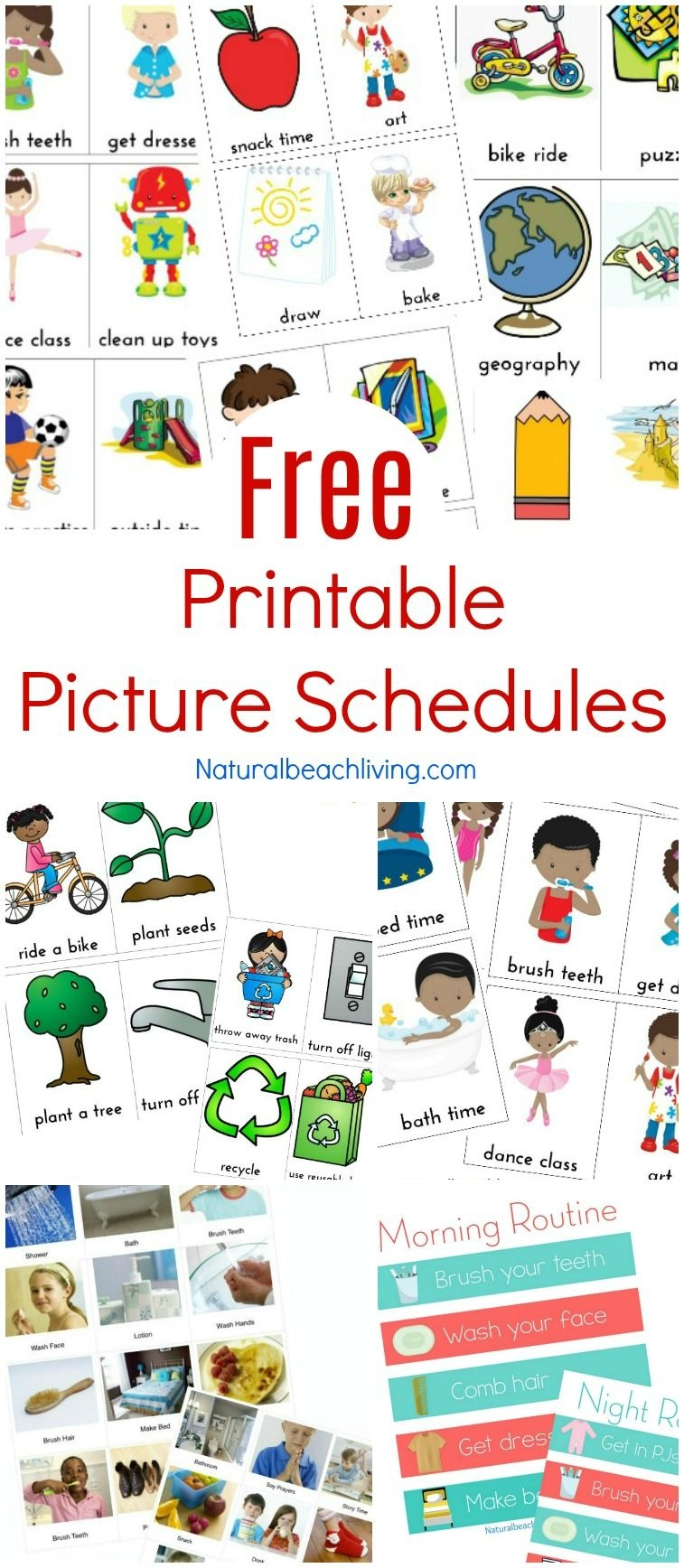 Free Printable Picture Schedule Cards - Visual Schedule Printables - Autism Picture Cards Free Printable