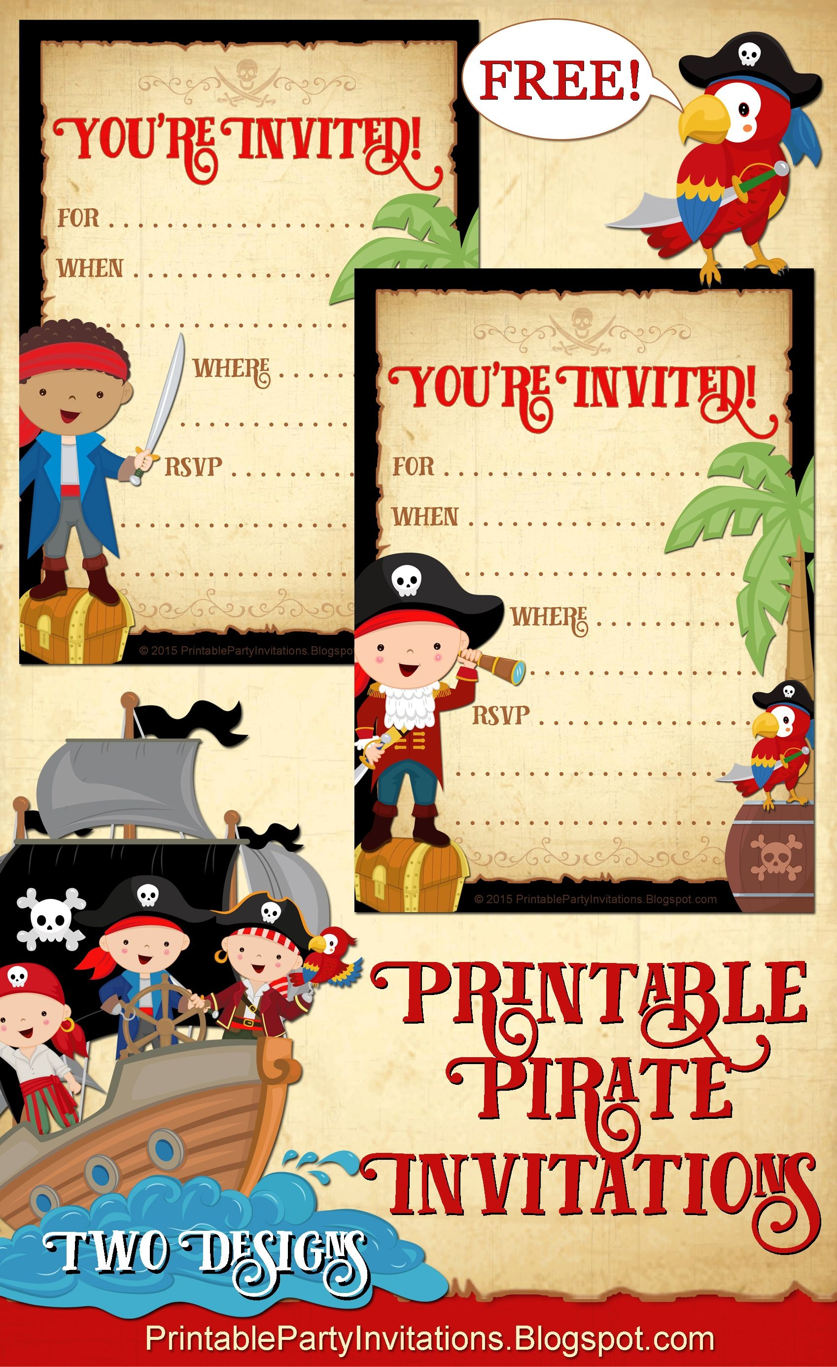 Free Printable Pirate Party Invitations -- 2 Designs   Party - Free Pirate Birthday Party Printables