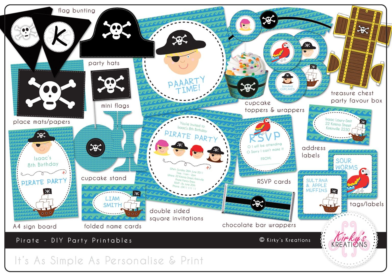 Free Printable Pirate Party Invitations Templates | Birthday In 2019 - Free Printable Pirate Cupcake Toppers