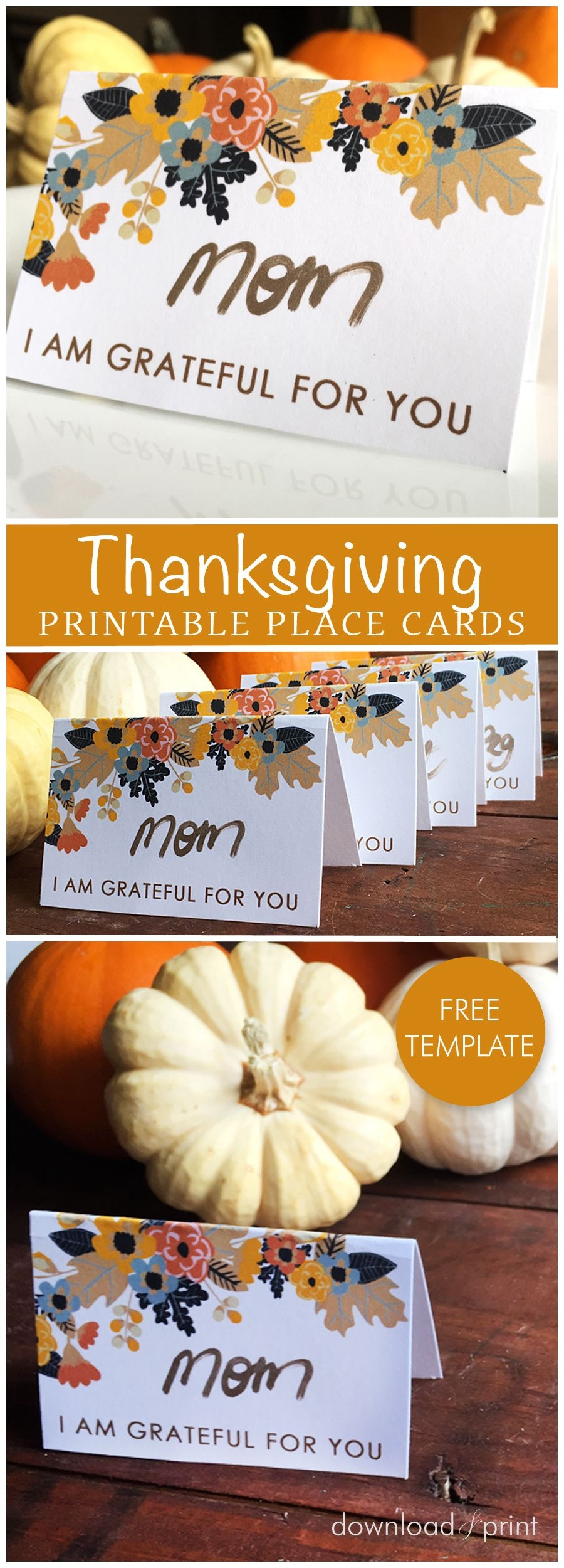 Free Printable Place Card Template, Perfect For Your Thanksgiving - Free Printable Personalized Thanksgiving Place Cards