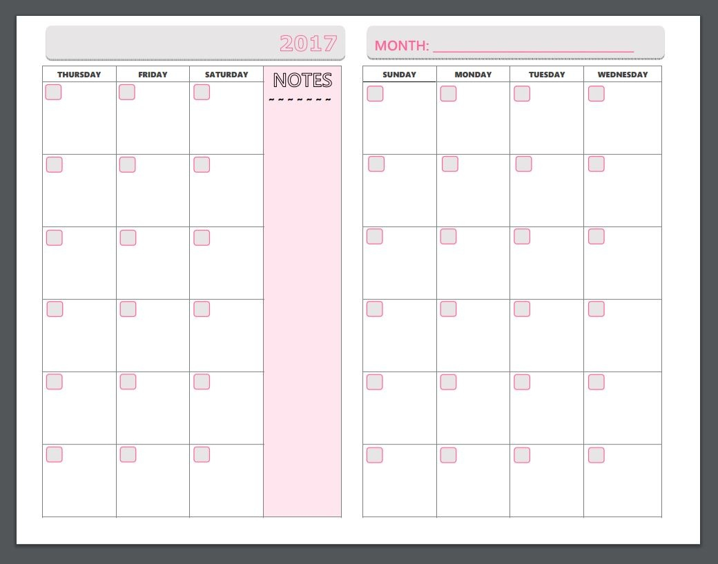 Free Printable Planner Pages - The Make Your Own Zone - Free Printable Organizer 2017