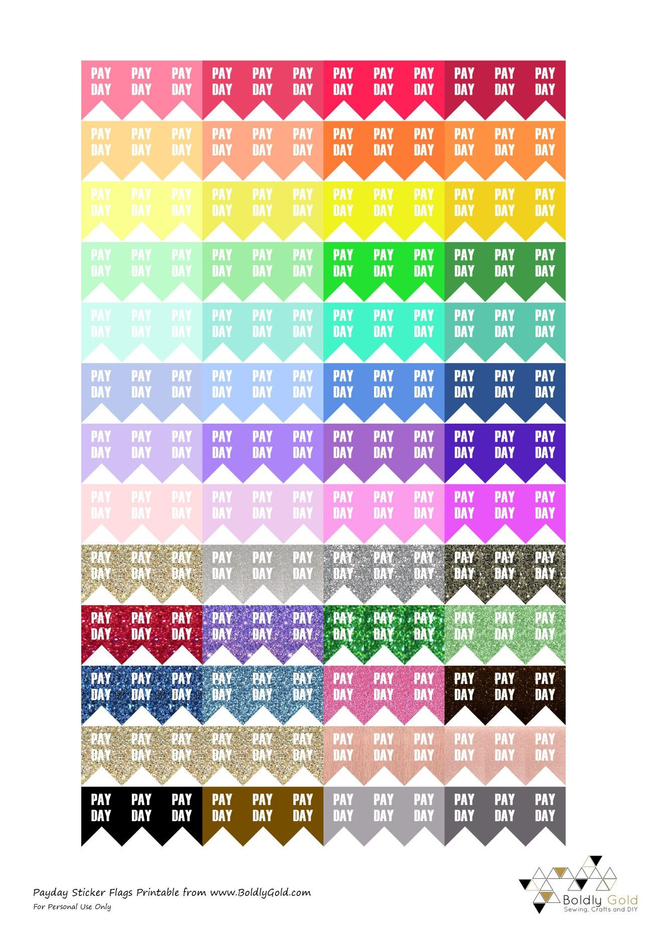 Free Printable Planner Stickers Payday Flags Boldly Gold | Planer - Free Printable Payday Stickers