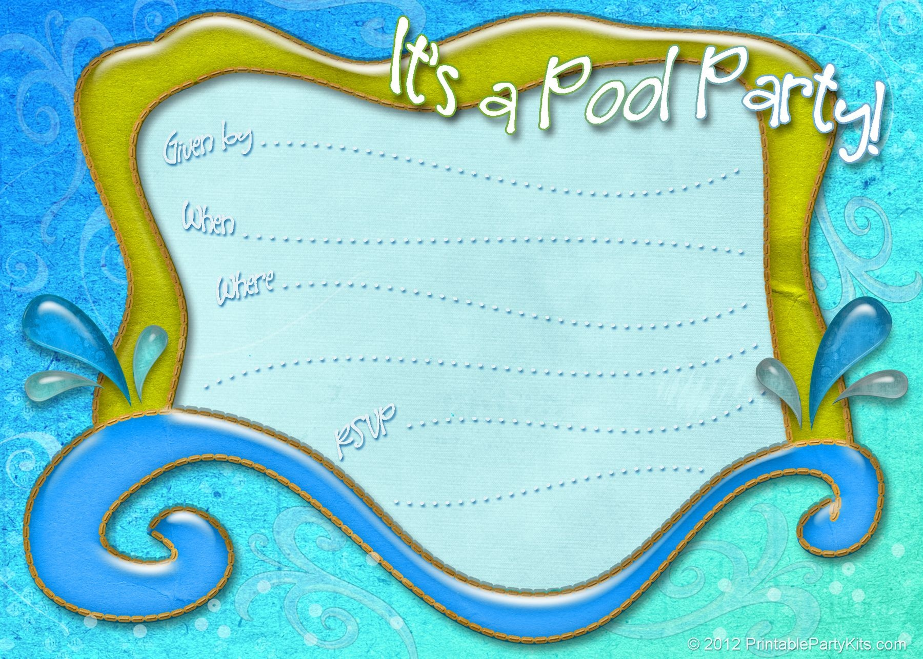 Free Printable Pool Party Invitation Template From - Free Printable Pool Party Birthday Invitations
