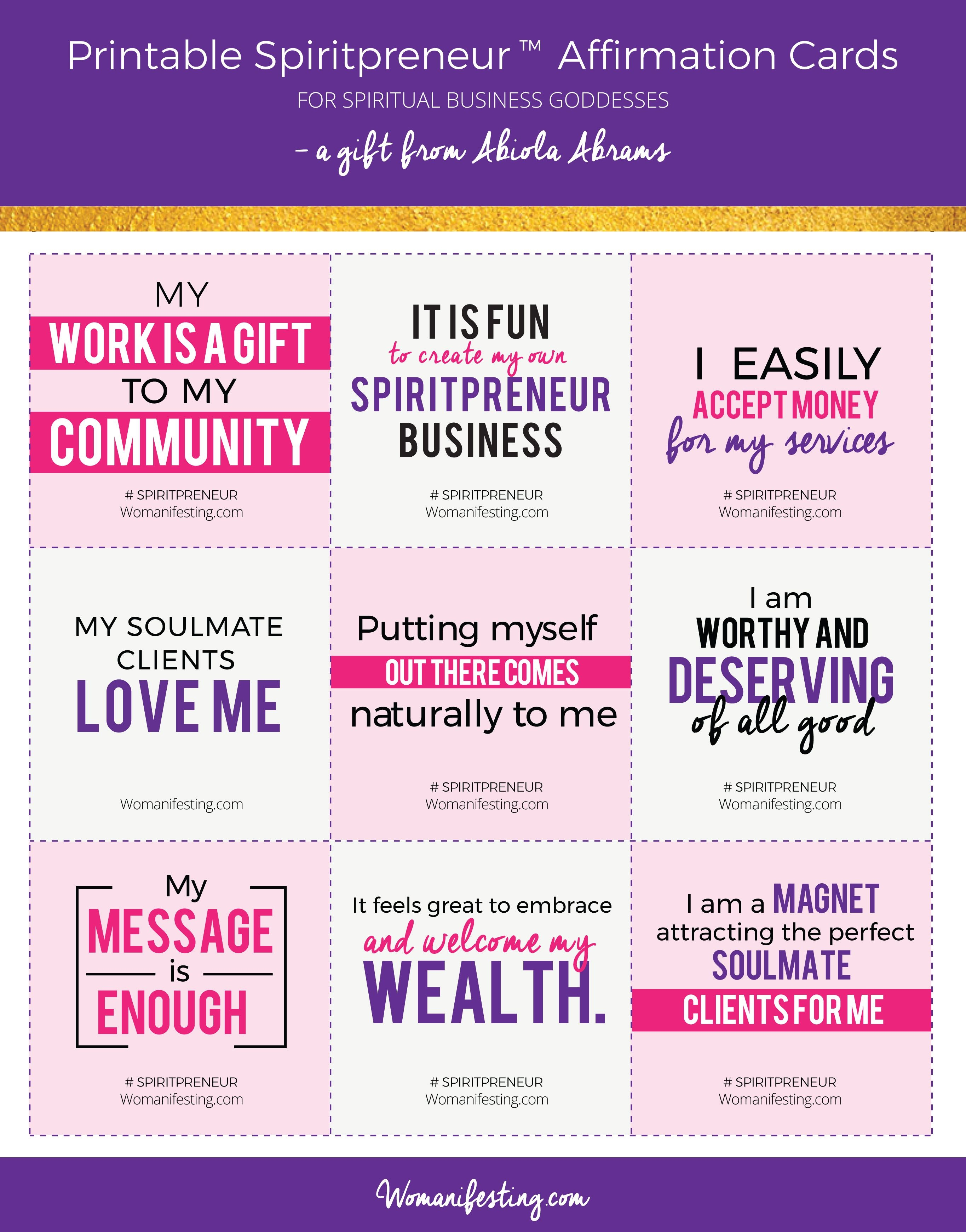 Free Printable Positive Affirmation Cards For Spiritual - Free Printable Positive Affirmation Cards