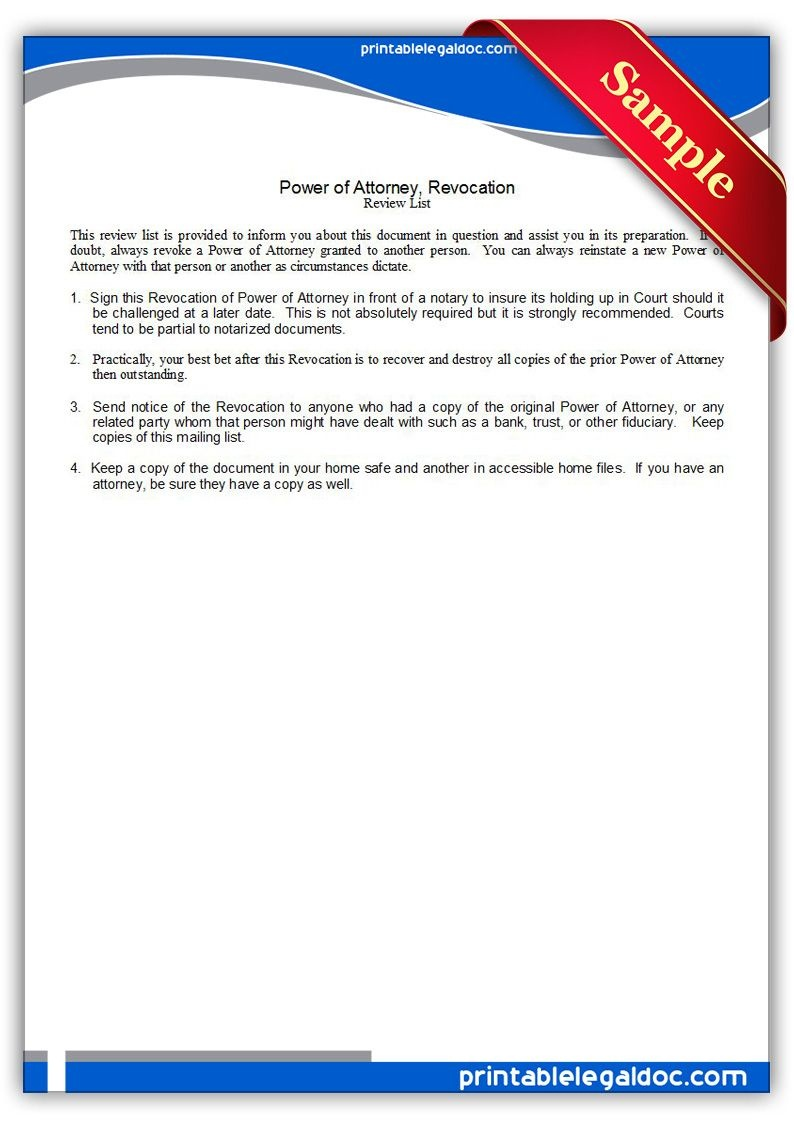 Free Printable Power Of Attorney, Revocation Legal Forms   Free - Free Printable Revocation Of Power Of Attorney Form