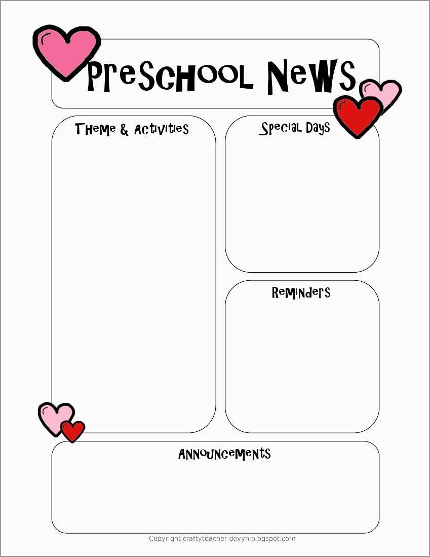 Free Printable Preschool Newsletter Templates Beautiful Newsletter - Free Printable Preschool Newsletter Templates