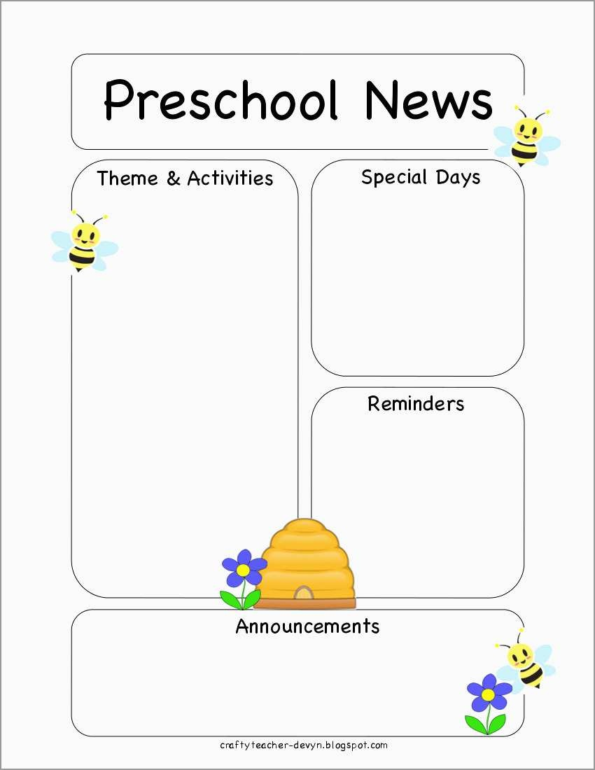 Free Printable Preschool Newsletter Templates Good Preschool Bee - Free Printable Preschool Newsletter Templates