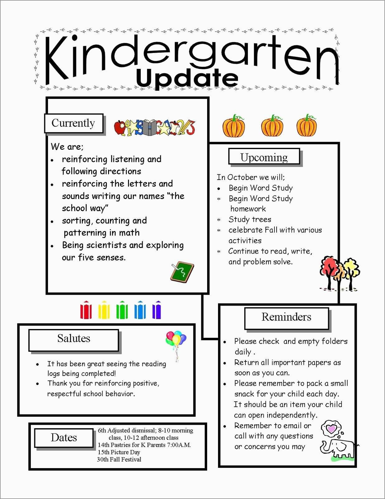 Free Printable Preschool Newsletter Templates New Preschool - Free Printable Kindergarten Newsletter Templates