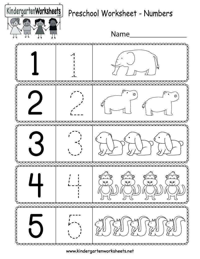 Free Printable Preschool Worksheet Using Numbers For Kindergarten - Free Printable Preschool Worksheets