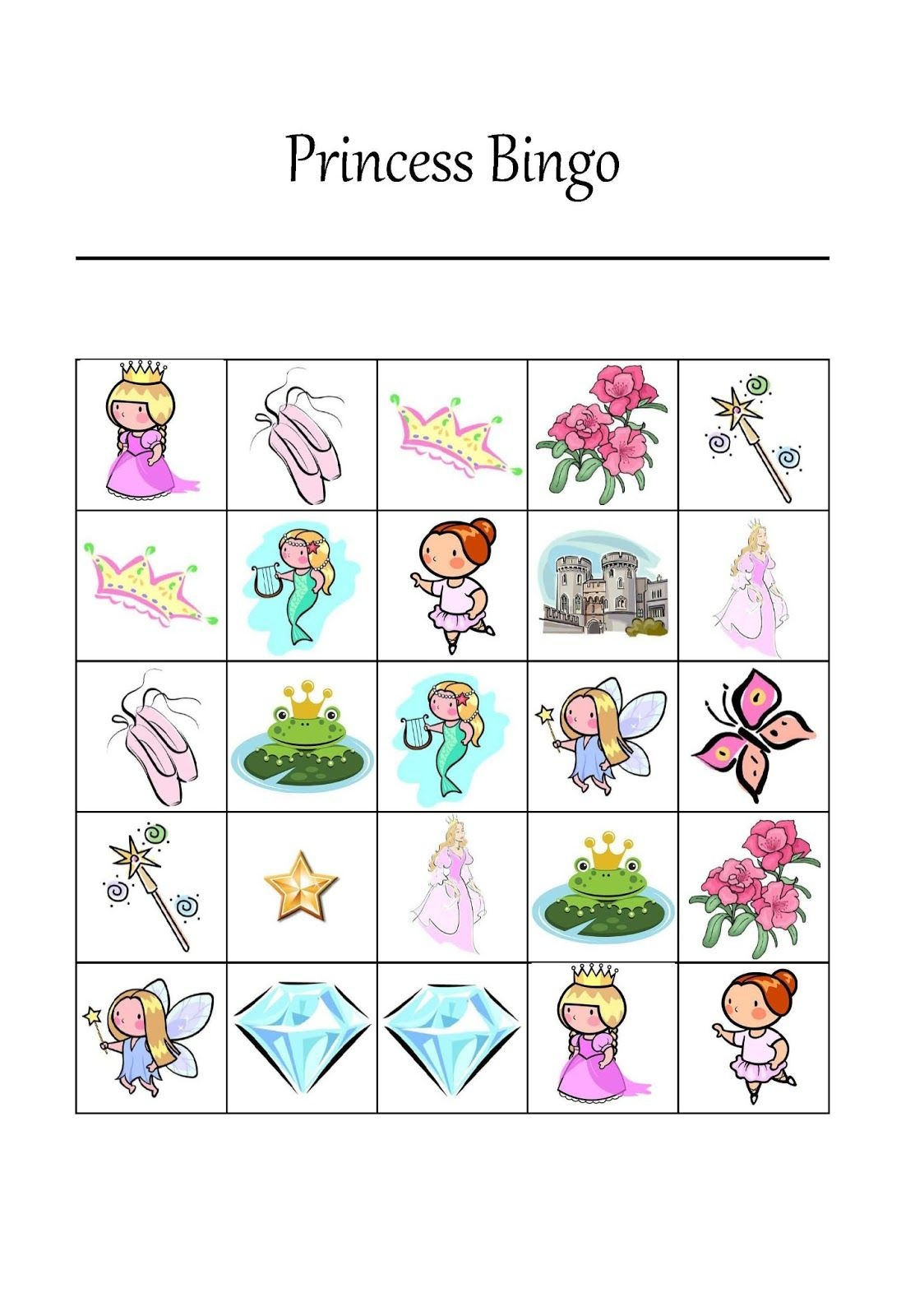 Free Printable Princess Bingo Game For 12 Players #princessparty - Free Printable Tea Party Games