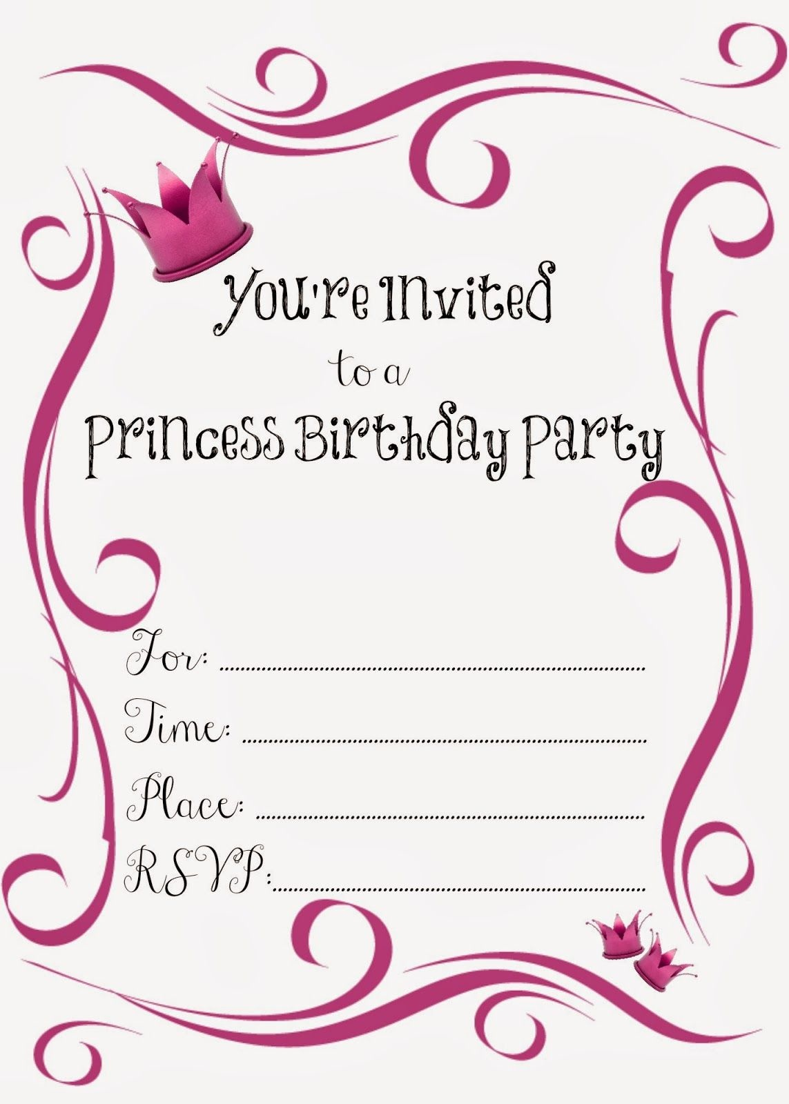 Free Printable Princess Birthday Party Invitations | Printables - Free Printable Birthday Party Invitations