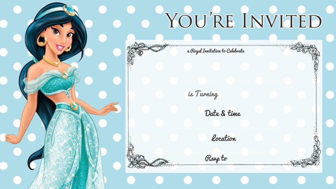 Free Printable Princess Jasmine Disney Birthday Invitation - Free Printable Princess Jasmine Invitations