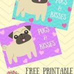 Free Printable Pugs & Kisses Cards | Pug Stuff | Crafts For Kids   Free Printable Pug Birthday Cards