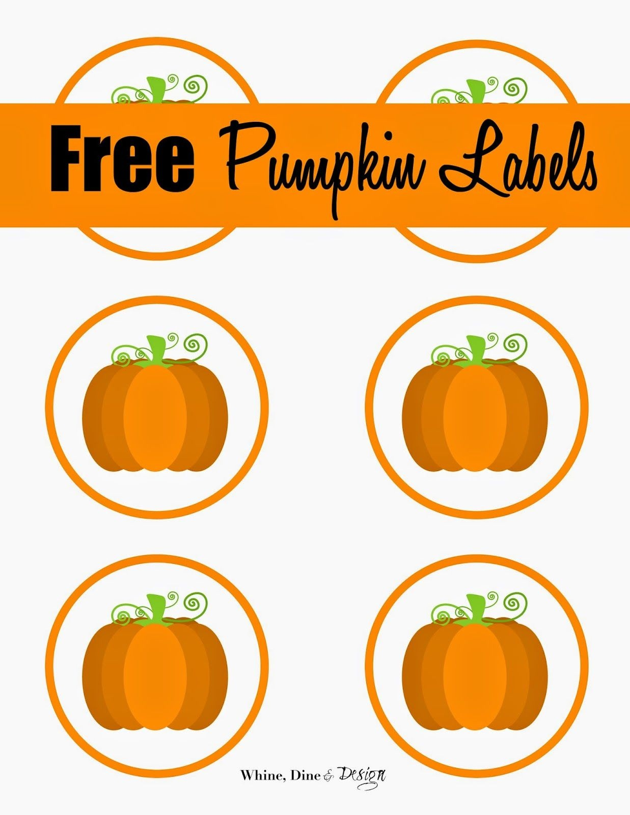 Free Printable Pumpkin Labels/cupcake Toppers | Craft Ideas/diy In - Free Printable Pumpkin Gift Tags