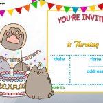Free Printable Pusheen Birthday Invitation | Free Printable   Free Printable Birthday Menu Templates