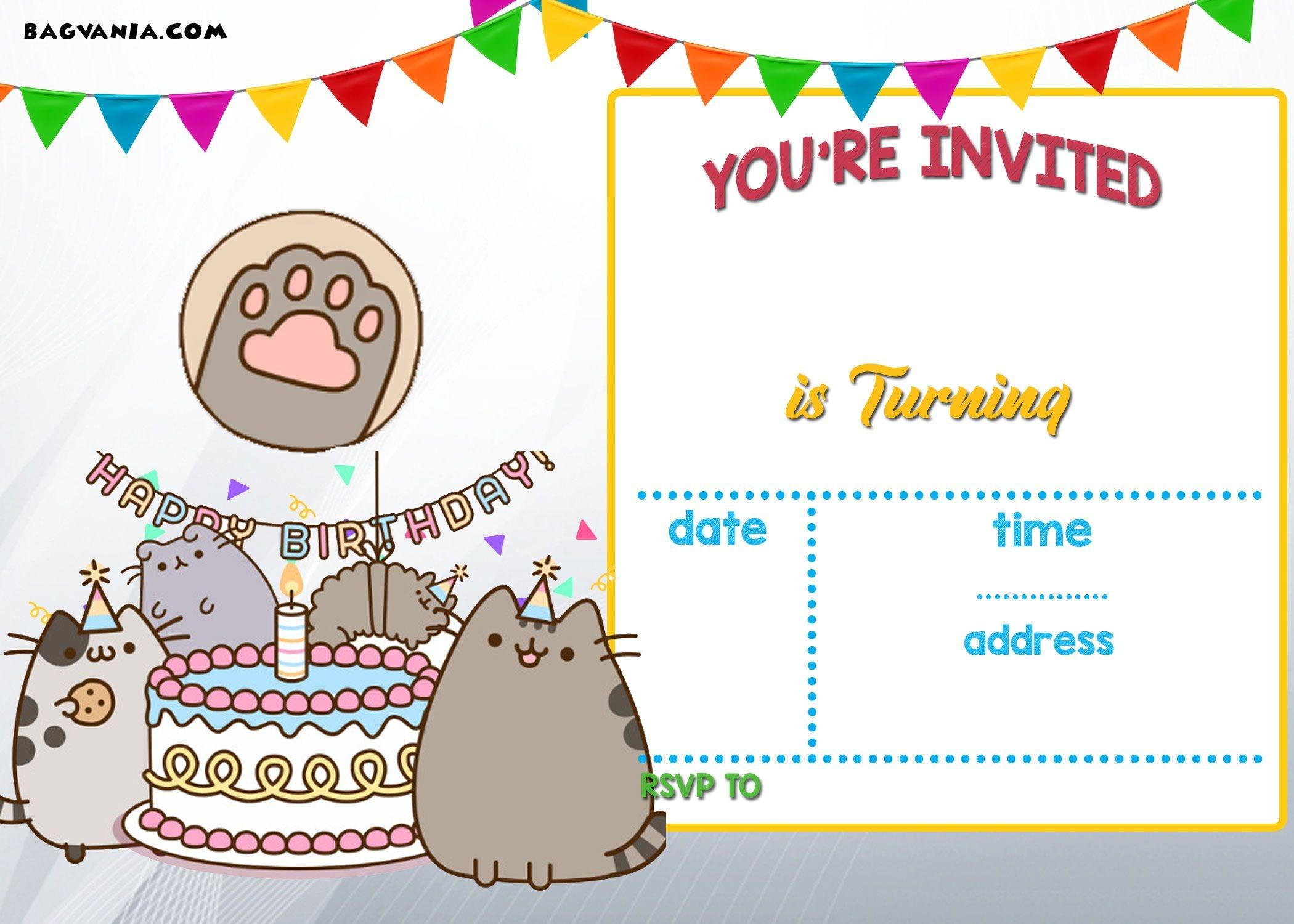 Free Printable Pusheen Birthday Invitation | Free Printable - Free Printable Birthday Menu Templates