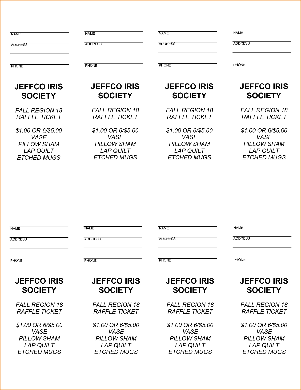 Free Printable Raffle Tickets With Stubs - Free Download - Free Printable Raffle Tickets With Stubs