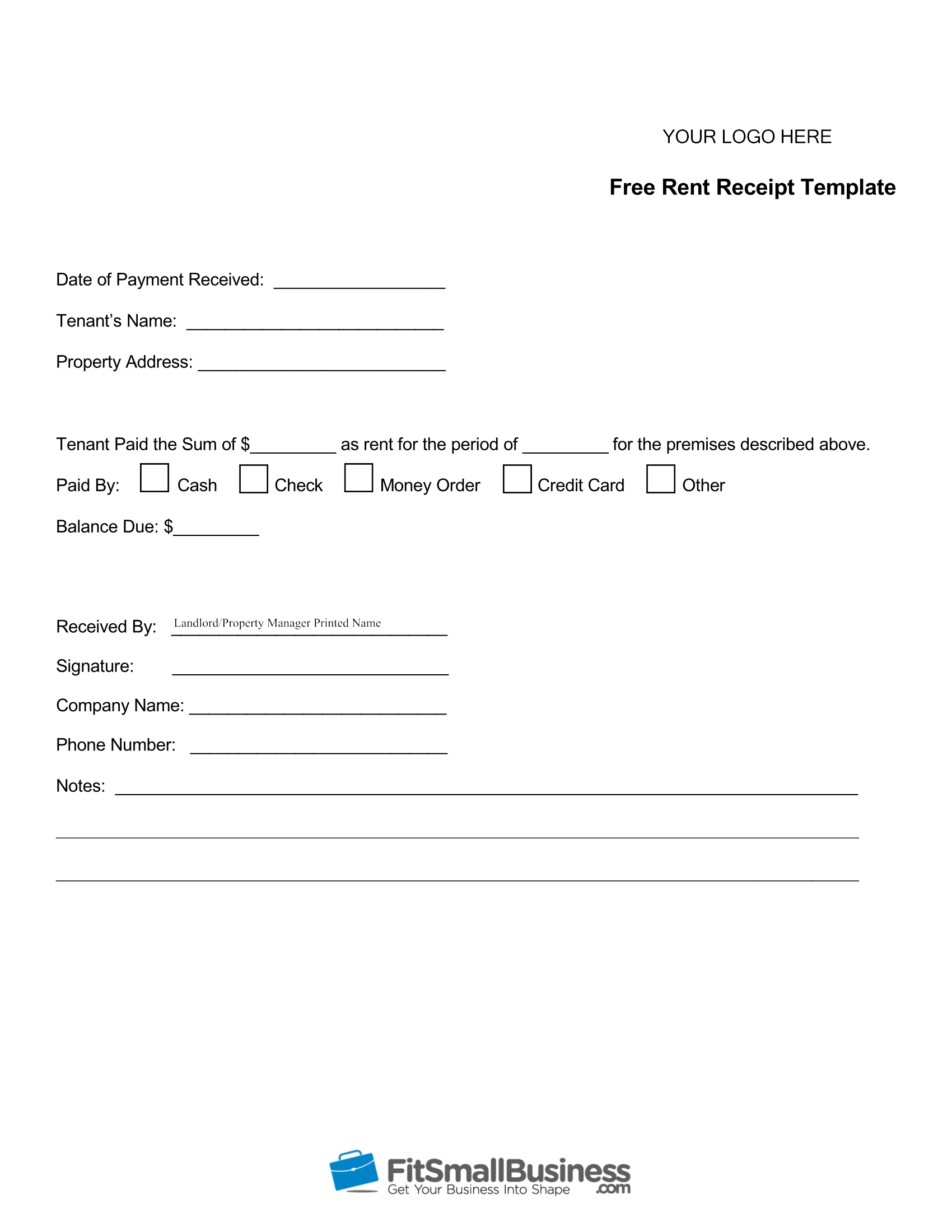 Free Printable Rent Receipt Template Download - Free Printable Rent Receipt
