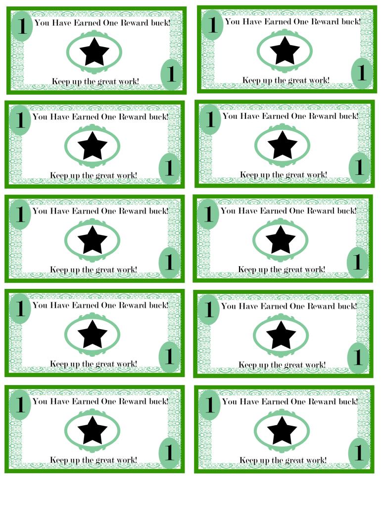 Free Printable Reward Bucks For Kids: Money Theme. I'm Using These - Free Printable Chore Bucks