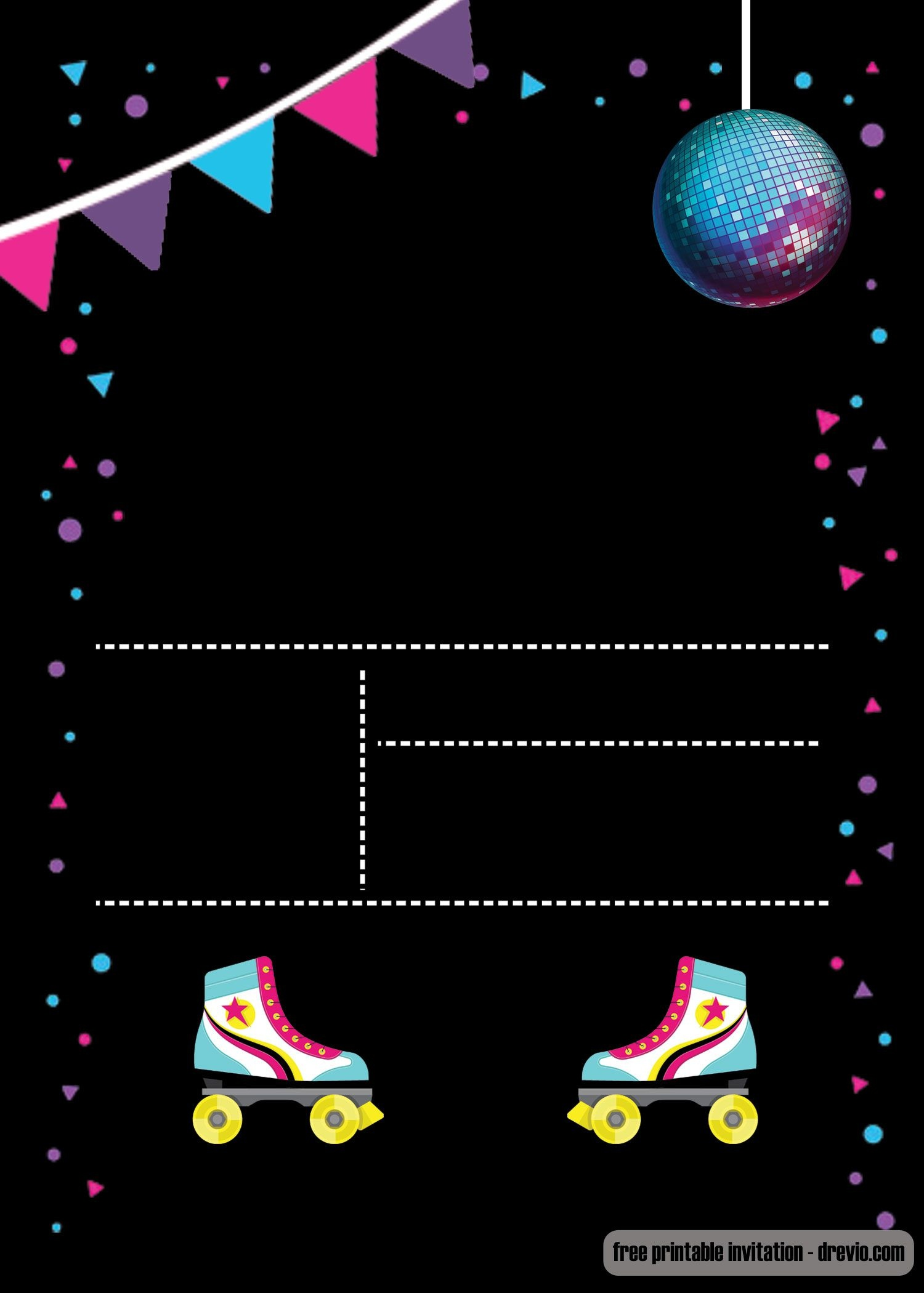 Free Printable Roller Skating Invitation   Invites   Birthday - Free Printable Skating Invitations