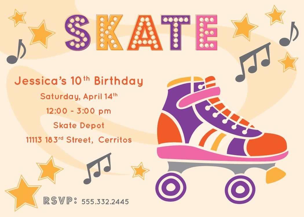 Free Printable Roller Skating Party Invitations | Laylas Birthday - Free Printable Roller Skating Birthday Party Invitations