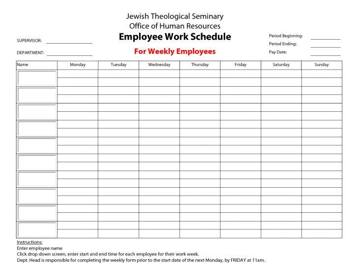 Free Printable Work Schedule Maker