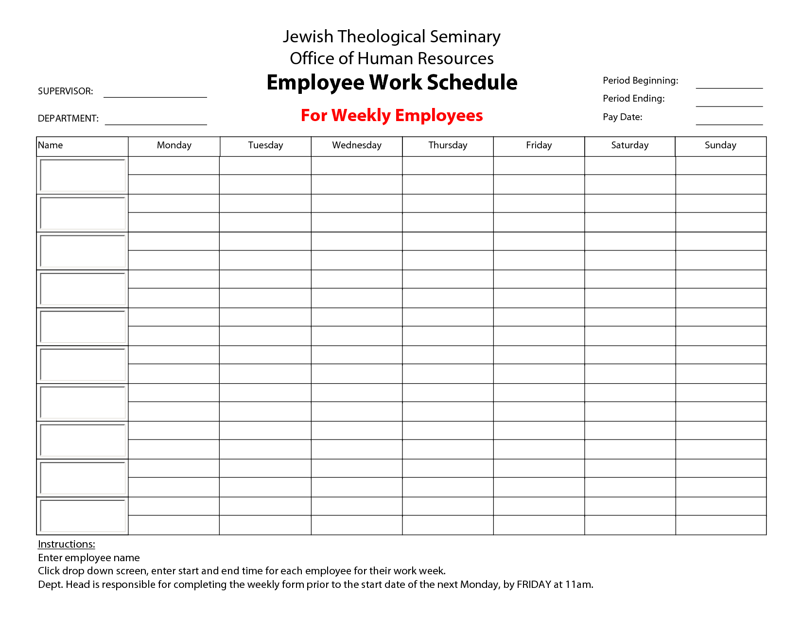 Free Printable Schedule Maker Employee Papers And Forms Template - Free Printable Work Schedule Maker