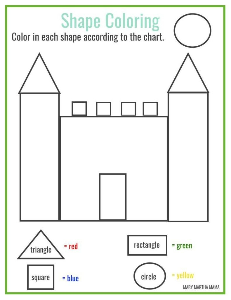 Free Printable Shape Coloring Printable | Kbn Learning Activities - Free Printable Shapes Worksheets For Kindergarten